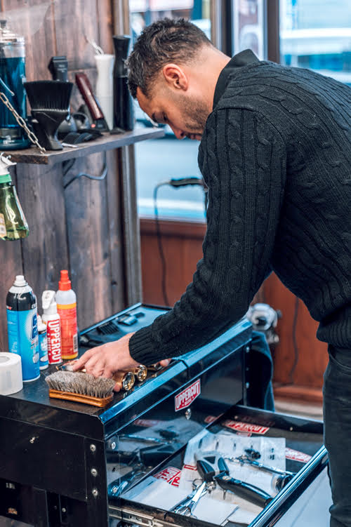 Kris Theophanous, owner of London Barberhood
